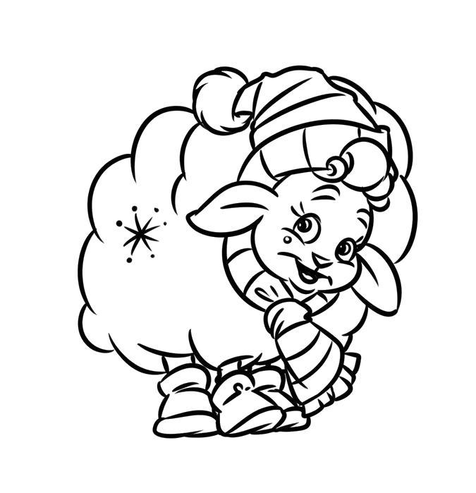 Раскраска Барашек в шарфе и шапочке. Скачать Овца.  Распечатать Домашние животные