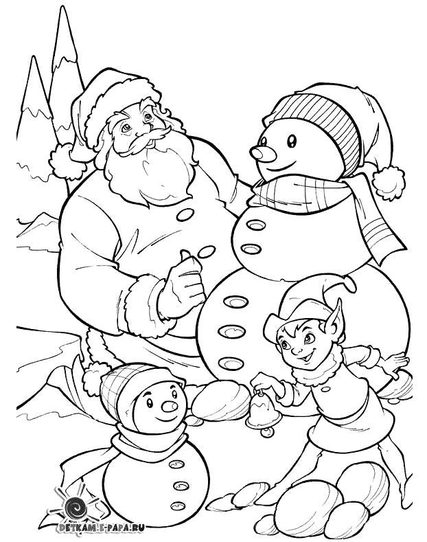 Раскраска  Снеговик, мальчик играется со снеговиком, Санта Клаус и снеговик. Скачать снеговик.  Распечатать снеговик