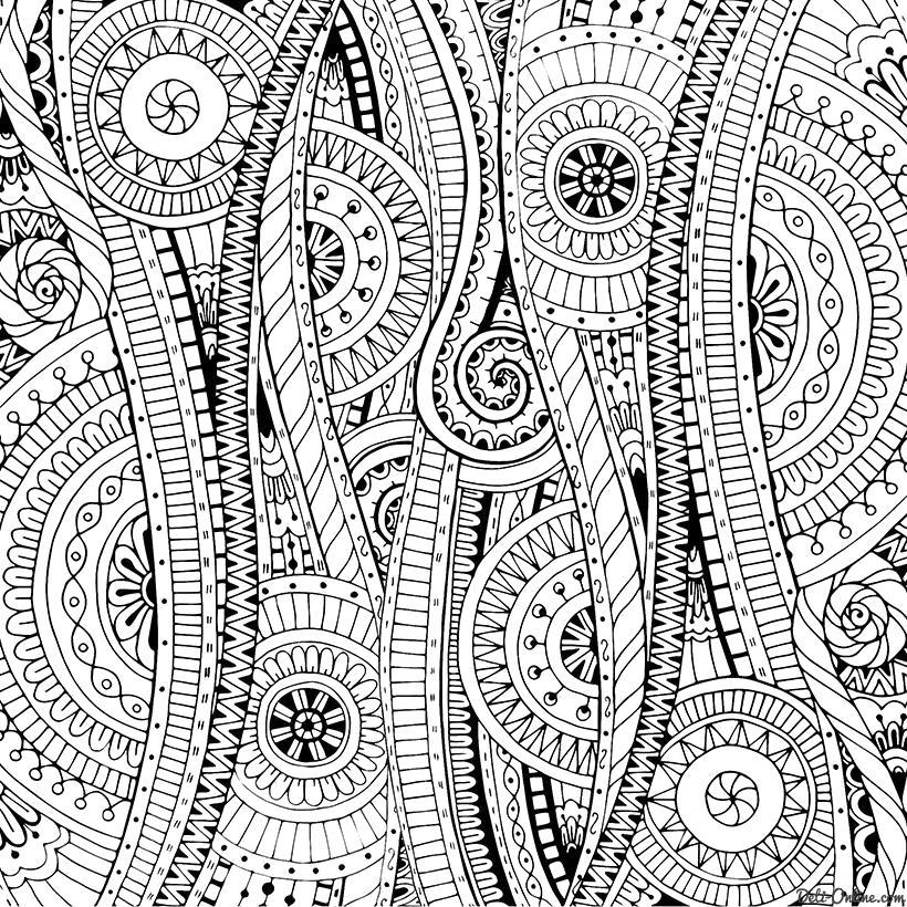 Раскраска  Дудлы с цветами и орнаментом. Скачать антистресс.  Распечатать антистресс