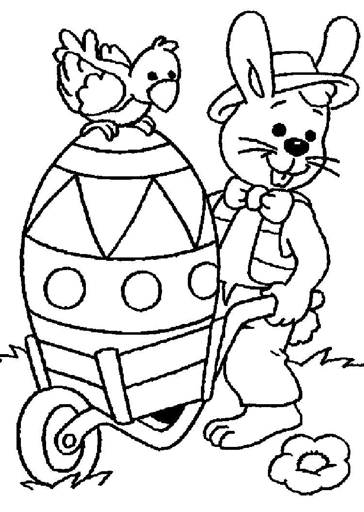 Раскраска Пасхальный кролик. Скачать .  Распечатать