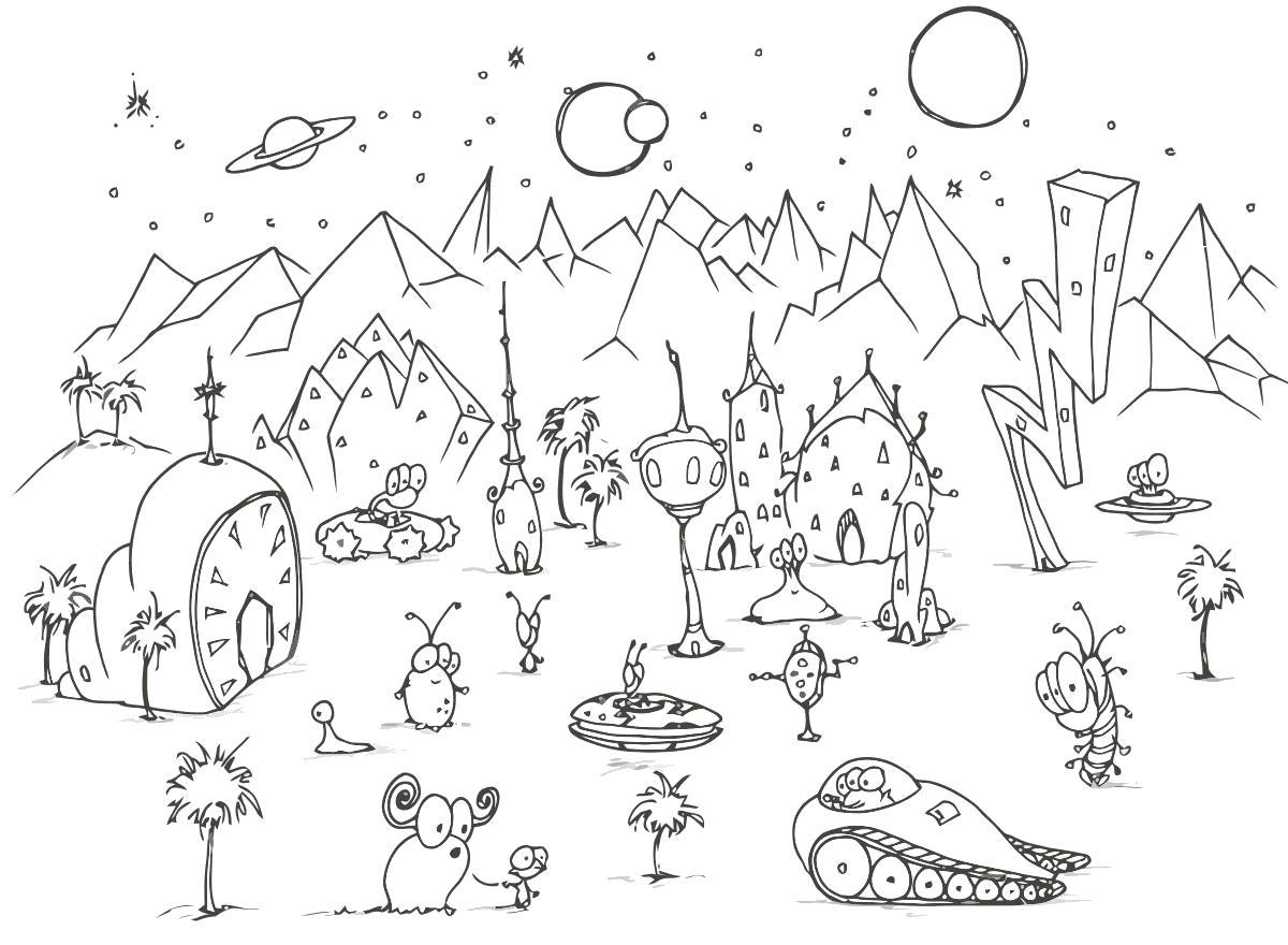 Раскраска Мир другой планеты. Скачать Инопланетяне.  Распечатать Инопланетяне