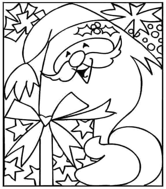 Раскраска Дед Мороз Красный нос подарки нам принес. Скачать Дед мороз, Подарки.  Распечатать Новый год