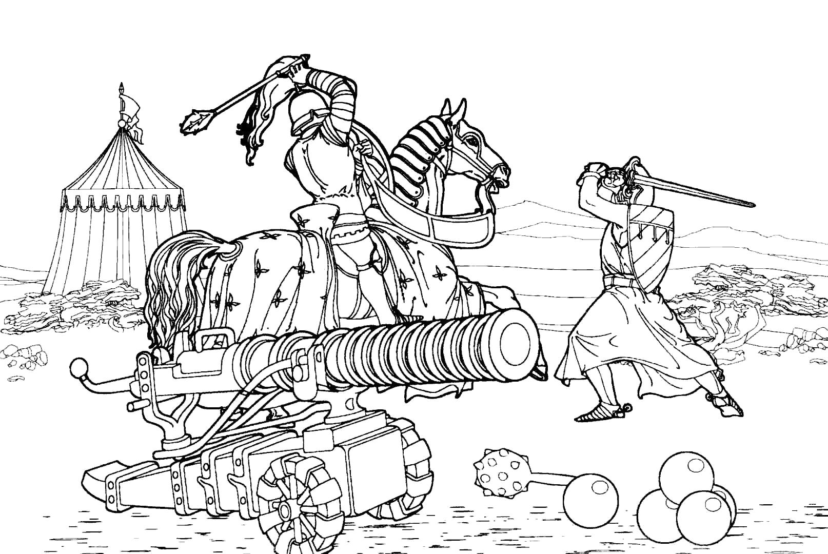 Раскраска Подарок папе на 23 февраля. Воины. Сражение средневековых рыцарей. . Скачать 23 февраля.  Распечатать 23 февраля