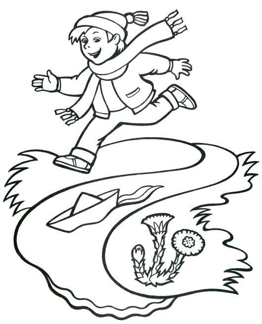 Раскраска мальчик бежит за плавающей лодкой, мальчик и лодка, лодка плывет по реке. Скачать Весна.  Распечатать Весна