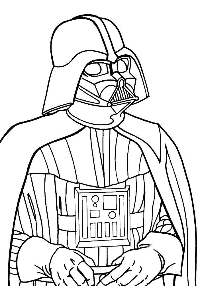 Раскраска лорд Дарт Вейдер. Скачать Звездные войны.  Распечатать Звездные войны