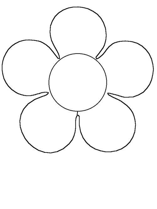 Раскраска  Контур цветка для вырезания. Аппликация. Скачать Цветы.  Распечатать Цветы