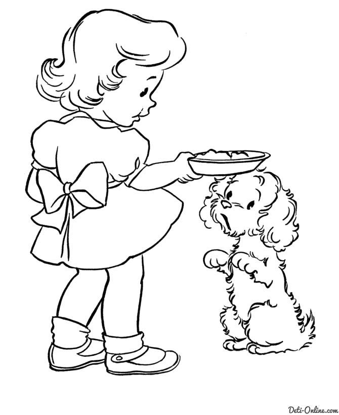 Раскраска  Девочка кормит собаку. Скачать Девочка.  Распечатать Девочка