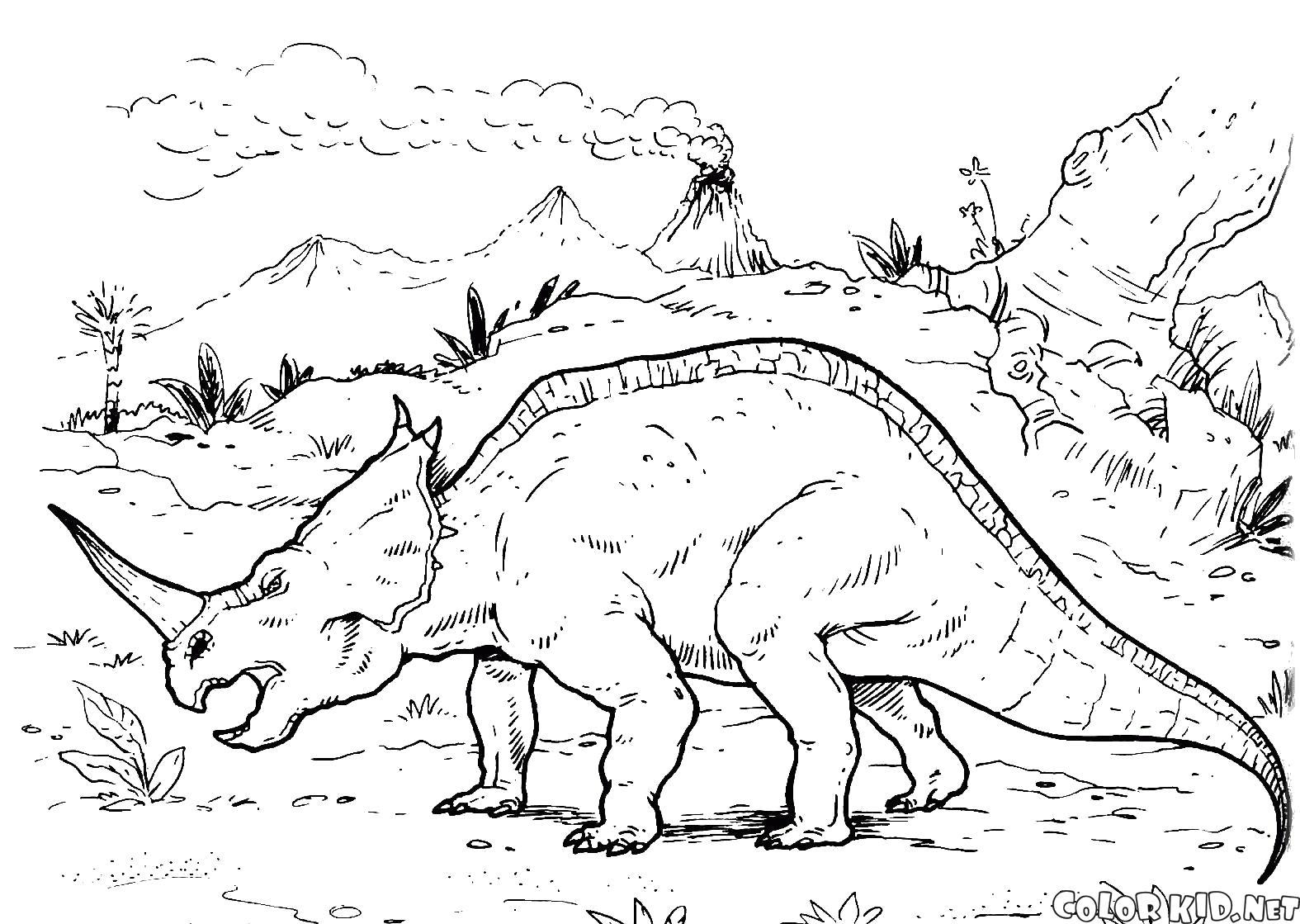 Раскраска Центрозавр путешествует по земле. Скачать динозавр.  Распечатать динозавр