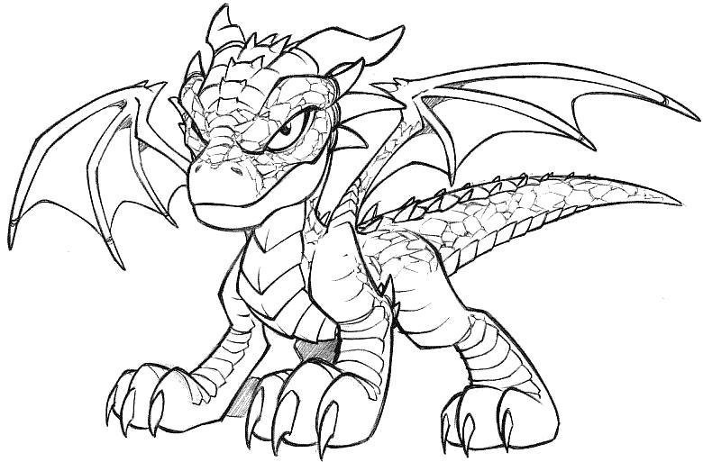 Раскраска злой дракон. Скачать дракон.  Распечатать мифические существа