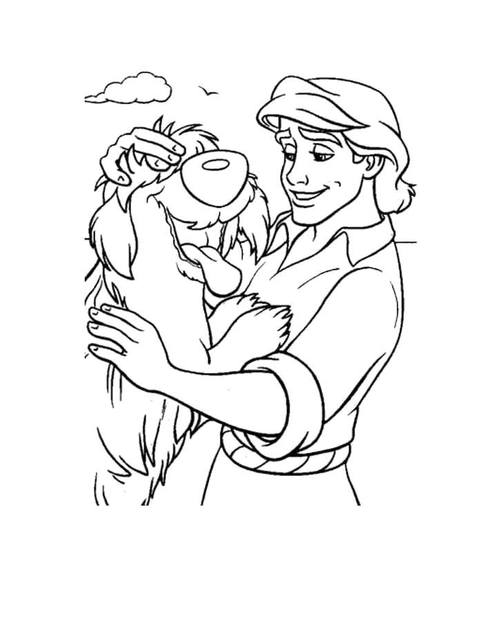 Раскраска Эрик с псом. Скачать Ариэль.  Распечатать Ариэль