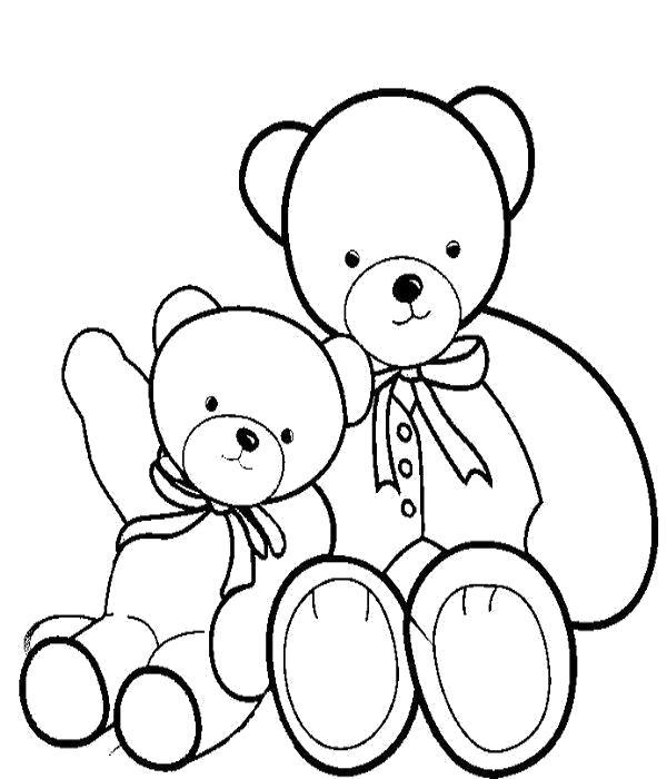 Раскраска Игрушки медвежата. Скачать .  Распечатать