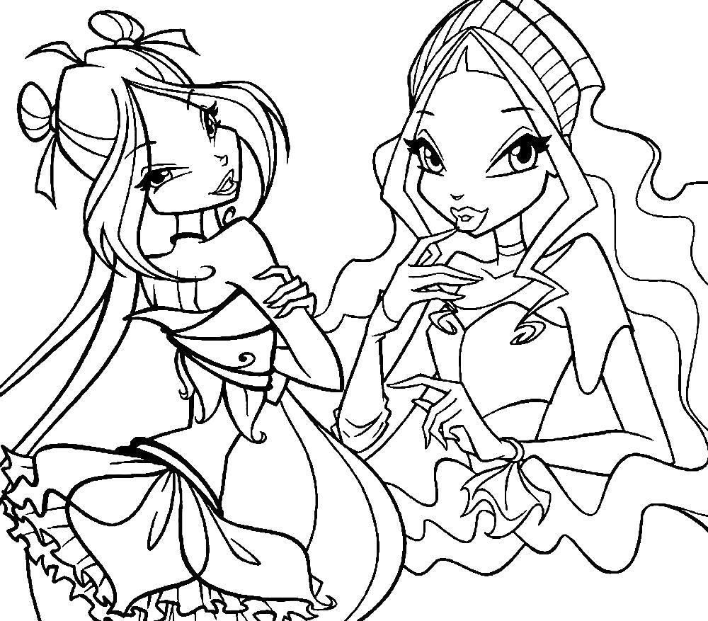 Раскраска Флора и лейла. Скачать .  Распечатать