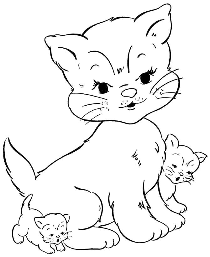 Раскраска мама и котята. Скачать кошка, Котенок.  Распечатать Домашние животные