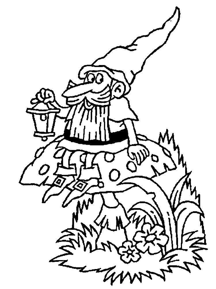 Раскраска Гномы  для детей дошкольного и младшего школьного возрастов. Скачать гном.  Распечатать гном