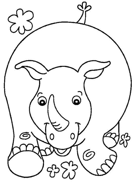 Раскраска носорог гуляет на улице. Скачать Носорог.  Распечатать Дикие животные