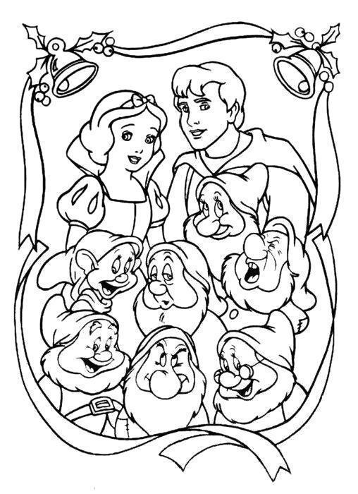 Раскраска  Картина Белоснежка и семь гномов. Дисней. Скачать .  Распечатать