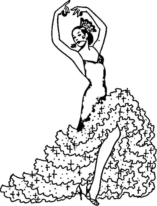 Раскраска Испанский танец. Скачать Танец.  Распечатать Танец