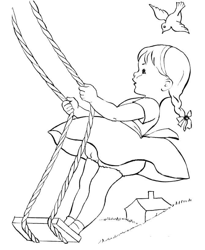 Раскраска  девочка катается на качелях . Скачать Лето.  Распечатать Лето