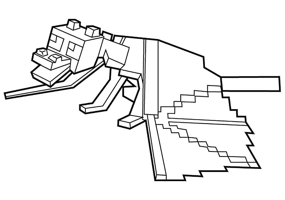 Раскраска Майнкрафт собачка. Скачать майнкрафт.  Распечатать майнкрафт