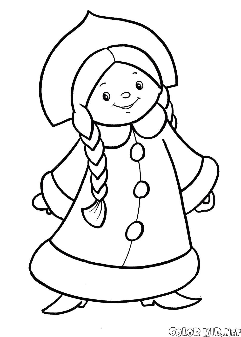 Раскраска Новогодний костюм снегурочки. Скачать костюм.  Распечатать костюм