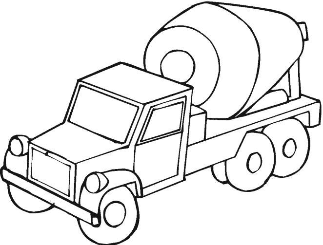 Раскраска Строительная машина, Бетономешалка. Скачать машины.  Распечатать машины