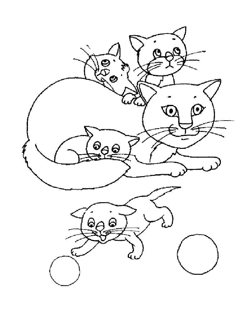 Раскраска Котята у мамы. Скачать кошка, Котенок.  Распечатать Домашние животные