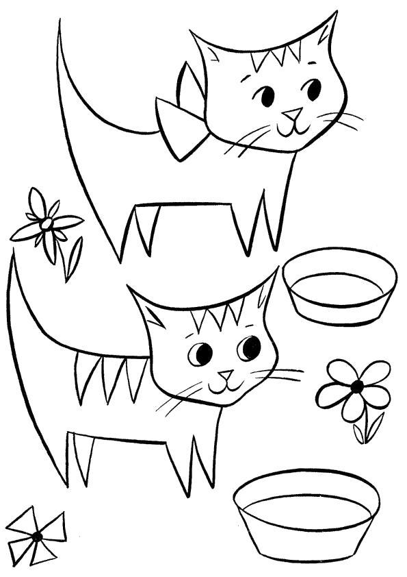 Раскраска  с котятами. Скачать кошка, Котенок.  Распечатать Домашние животные