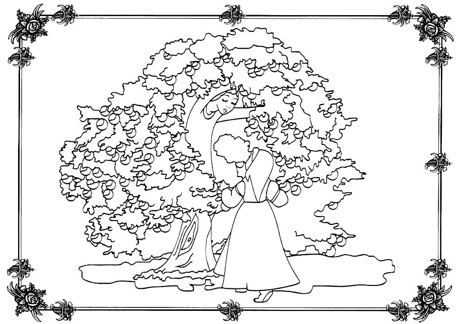 Раскраска   к сказке гуси лебеди девочка и яблоня, гуси-лебеди сказка . Скачать гуси лебеди.  Распечатать сказки