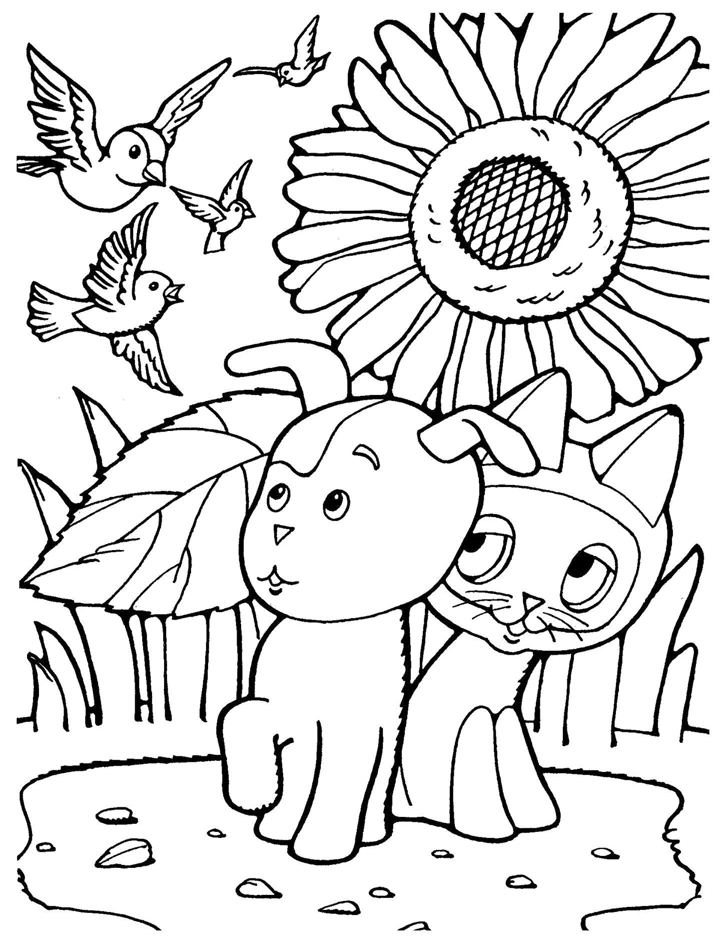 Раскраска Мультфильм Котенок по имени Гав! котенок и собака шарик испугались птиц. Скачать .  Распечатать