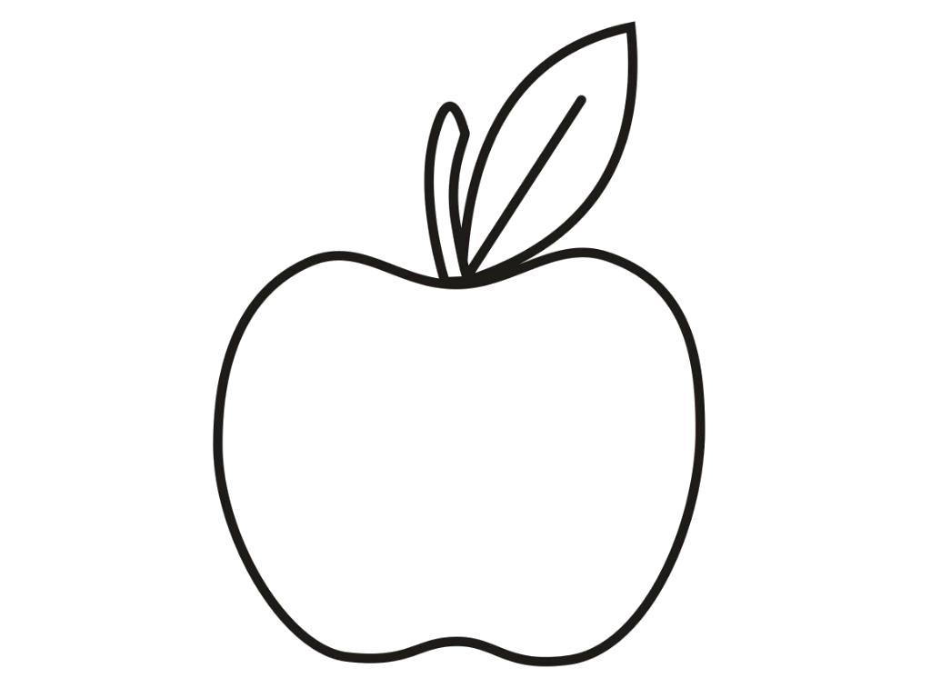 Раскраска яблоко. Скачать яблоко.  Распечатать Фрукты