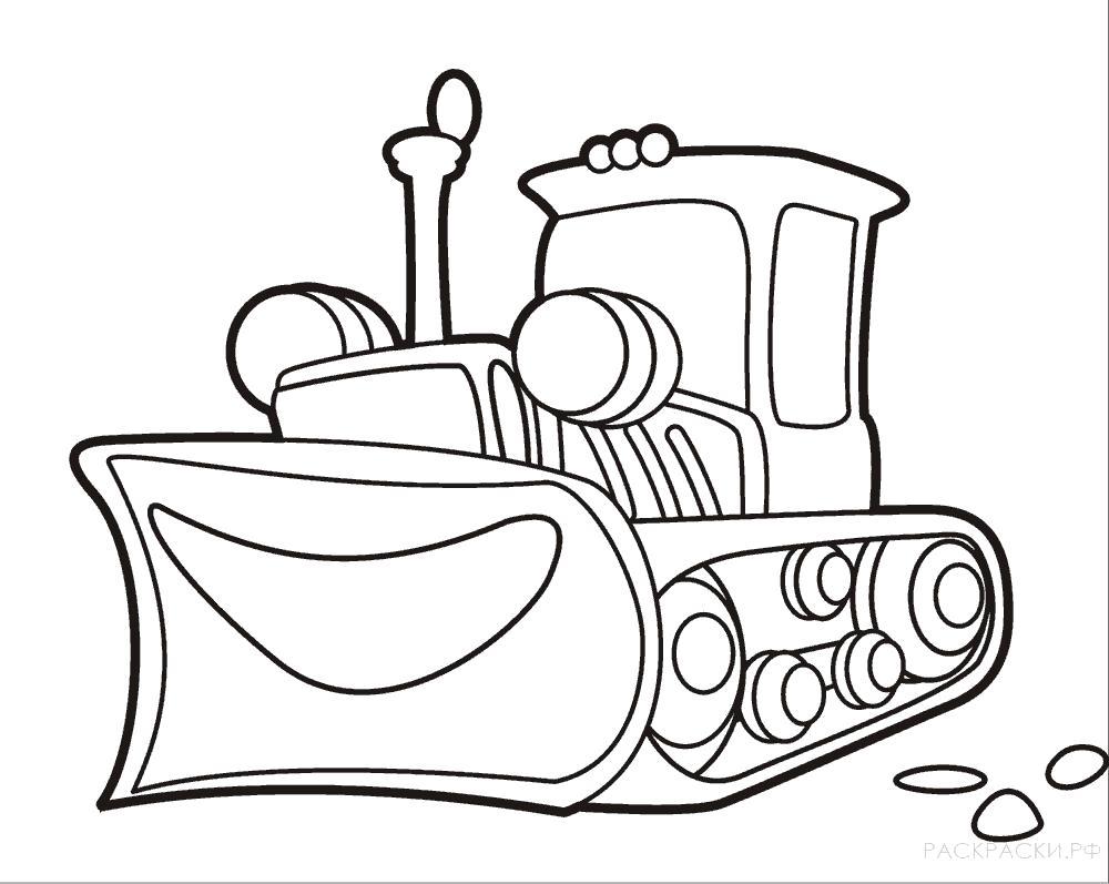 Раскраска Весёлый бульдозер. Скачать строительная техника.  Распечатать для мальчиков