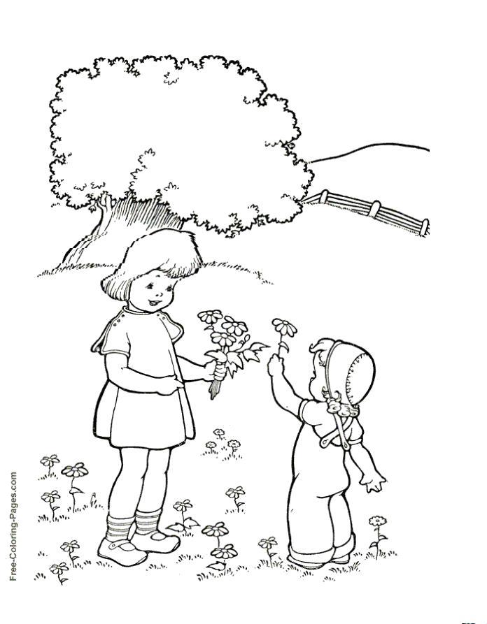Раскраска маленький мальчик дает девочке цветы, . Скачать Весна.  Распечатать Весна