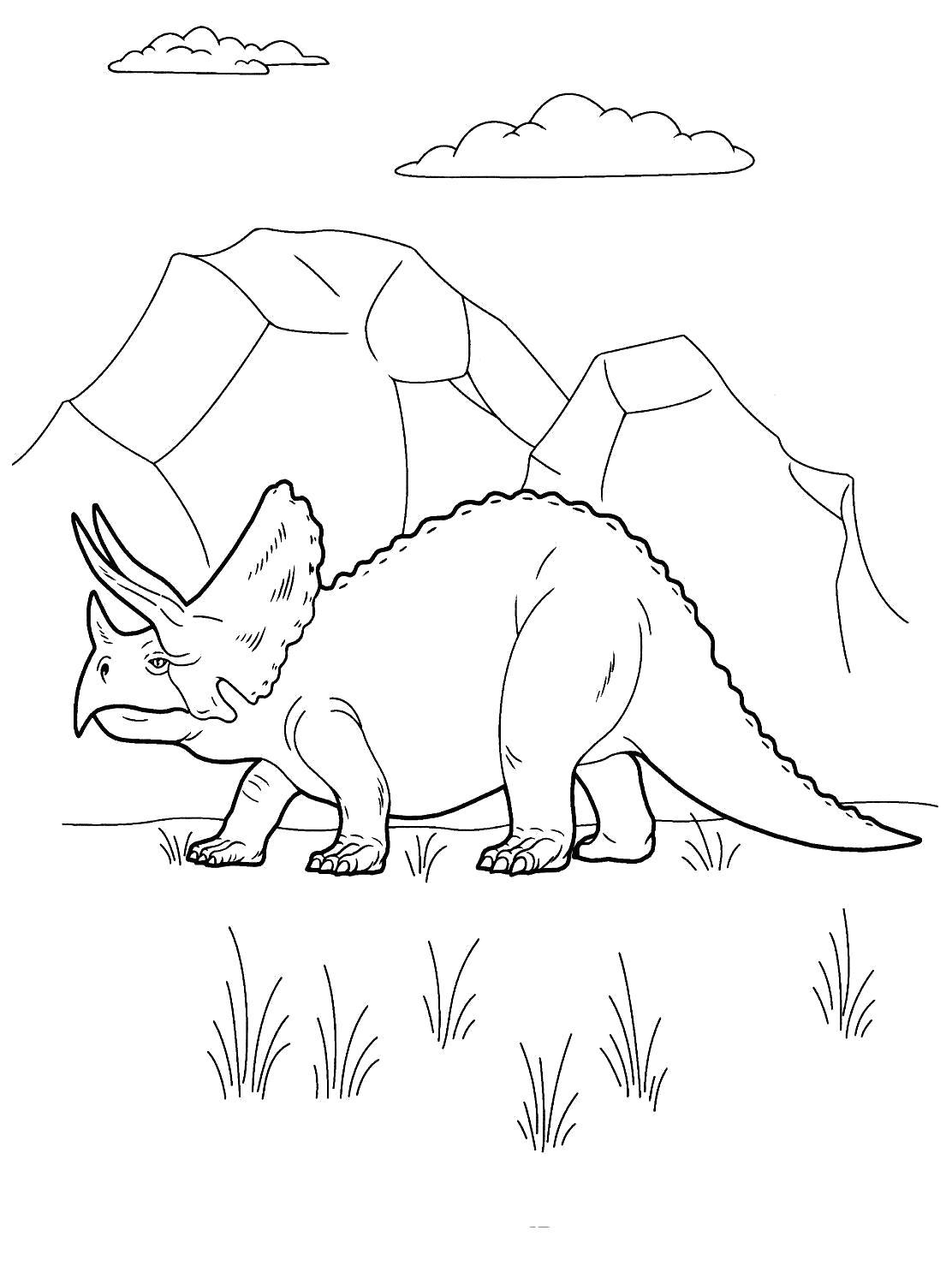 Раскраска Распечатать раскраску про динозавров. Скачать динозавр.  Распечатать динозавр