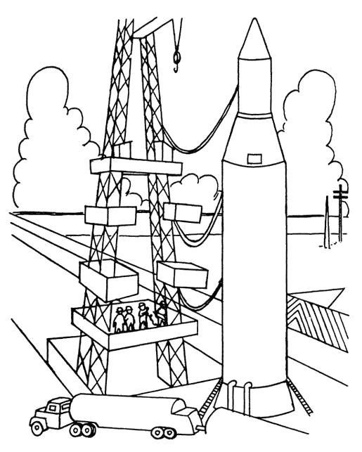 Раскраска ракета перед взлетом. Скачать ракета.  Распечатать ракета