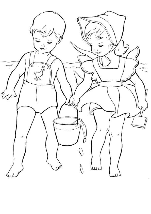 Раскраска мальчик и девочка несут ведро воды. Скачать Лето.  Распечатать Лето
