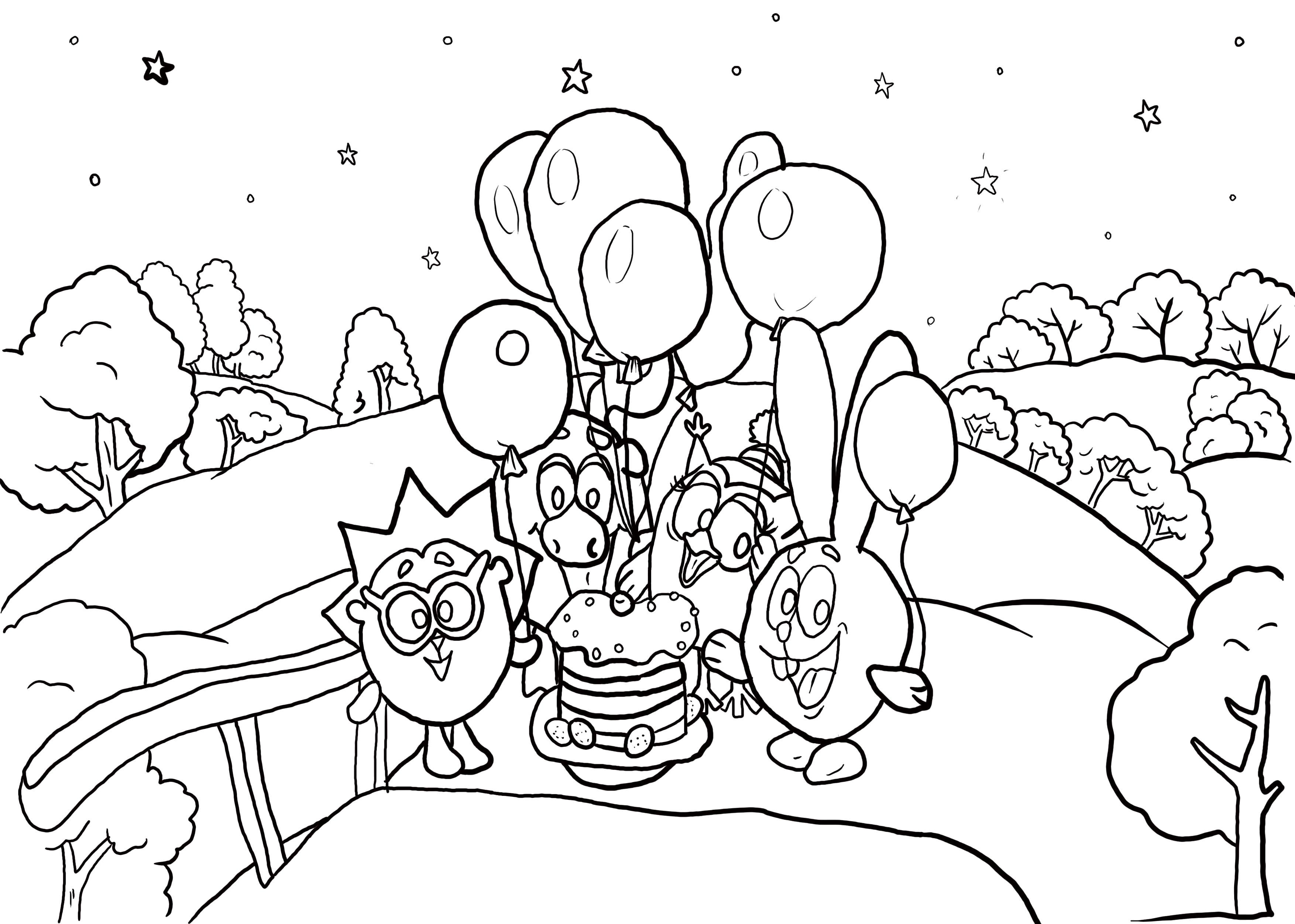 Раскраска смешарики с шариками. Скачать Ежик, Лосяш, Совунья, Крош.  Распечатать Смешарики