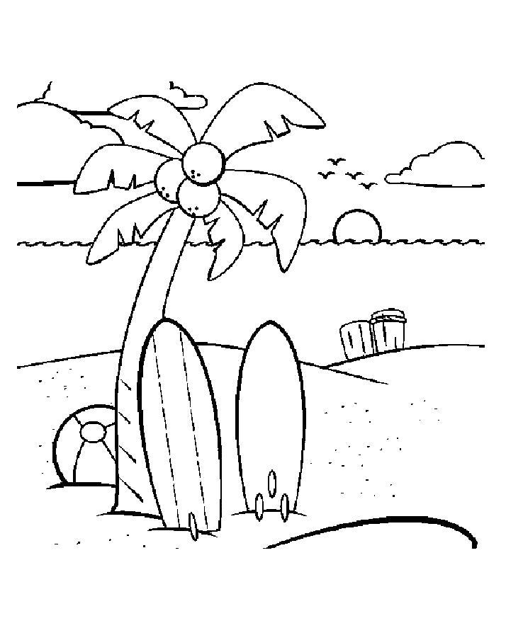 Раскраска Разукрашка на море для детей, пальма, солнце садится, закат . Скачать Лето.  Распечатать Лето