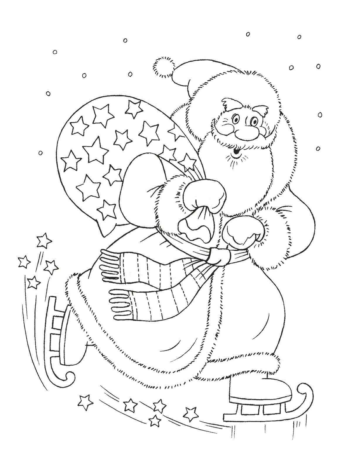 Раскраска , детские, новогодние, дед мороз. Дед мороз на коньках. Скачать .  Распечатать Дед мороз