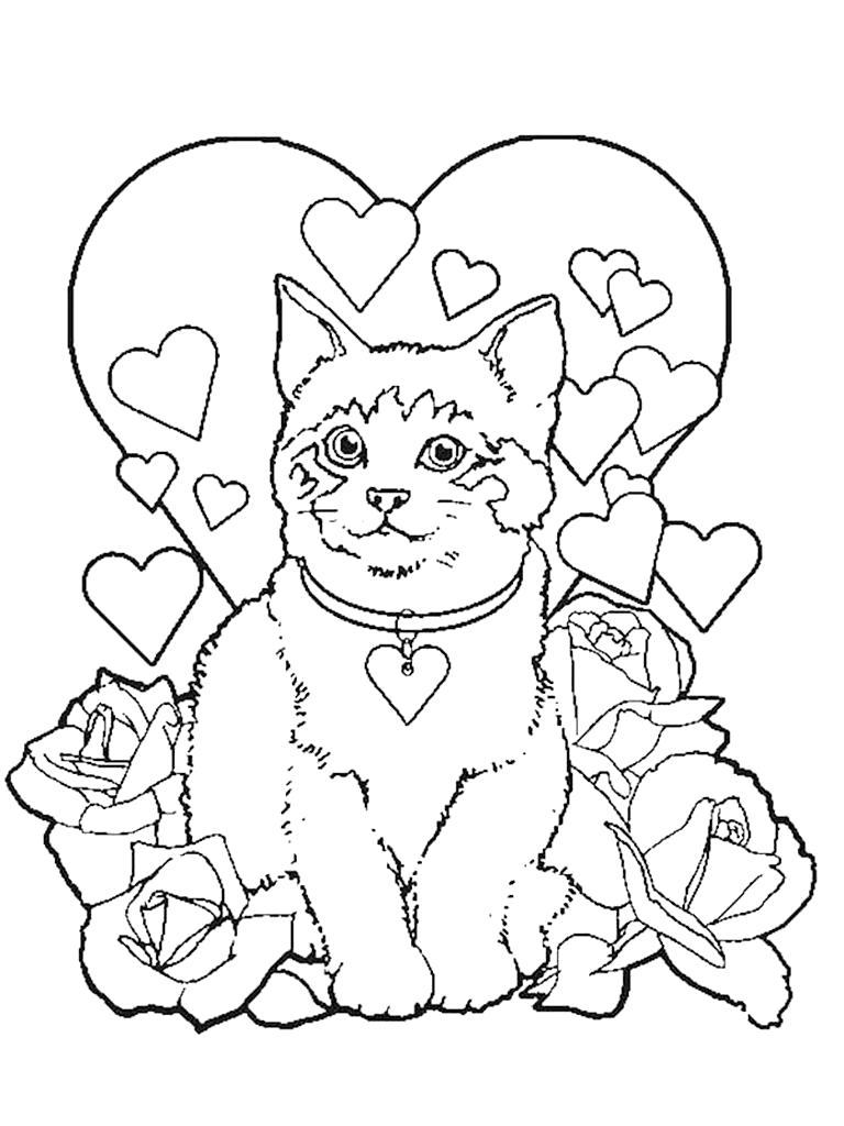 Раскраска Кошка влюблена. Скачать кошка.  Распечатать Домашние животные