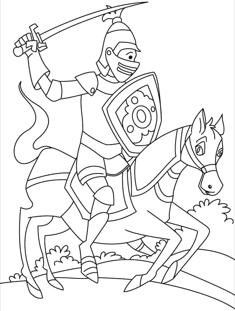 Раскраска В бой. Скачать рыцари.  Распечатать рыцари