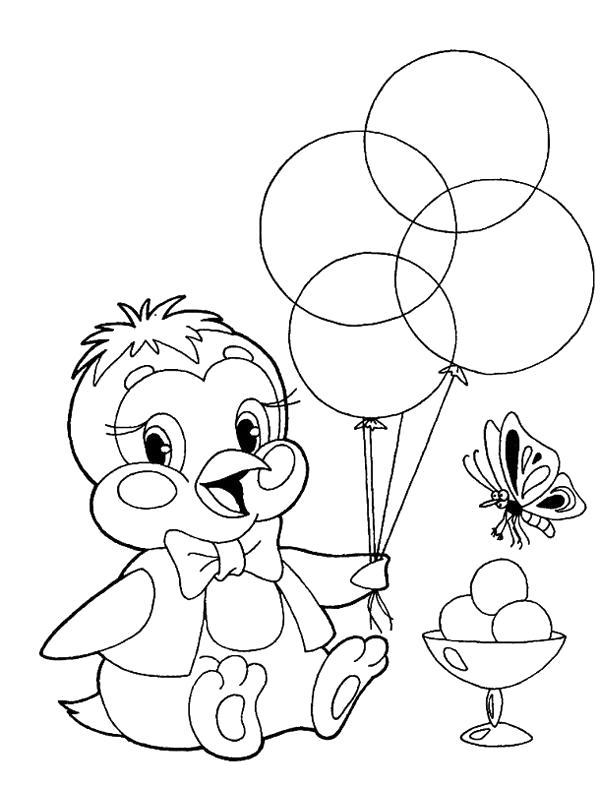 Раскраска Цыпленок с шариками. Скачать Цыпленок.  Распечатать Цыпленок