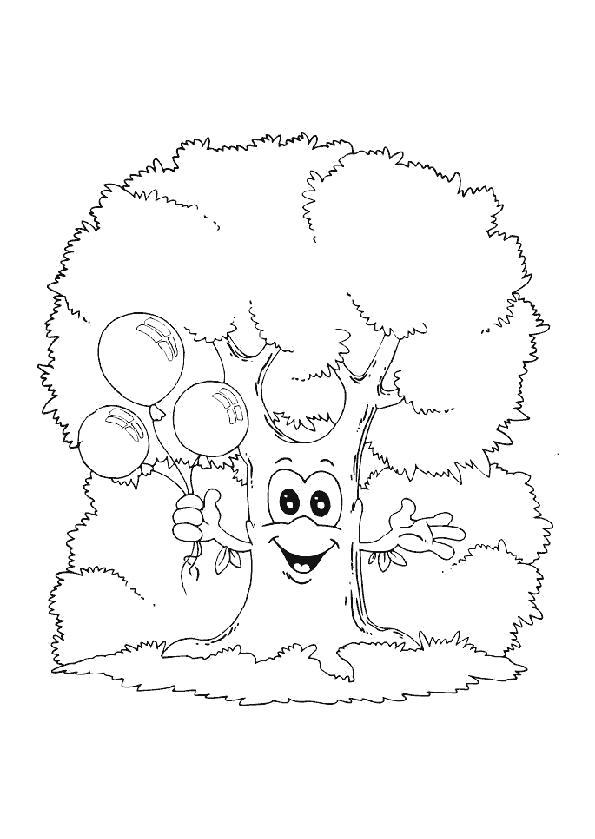 Раскраска  деревья  деревья,  природа,  для детей, дерево с воздушными шариками . Скачать дерево.  Распечатать растения
