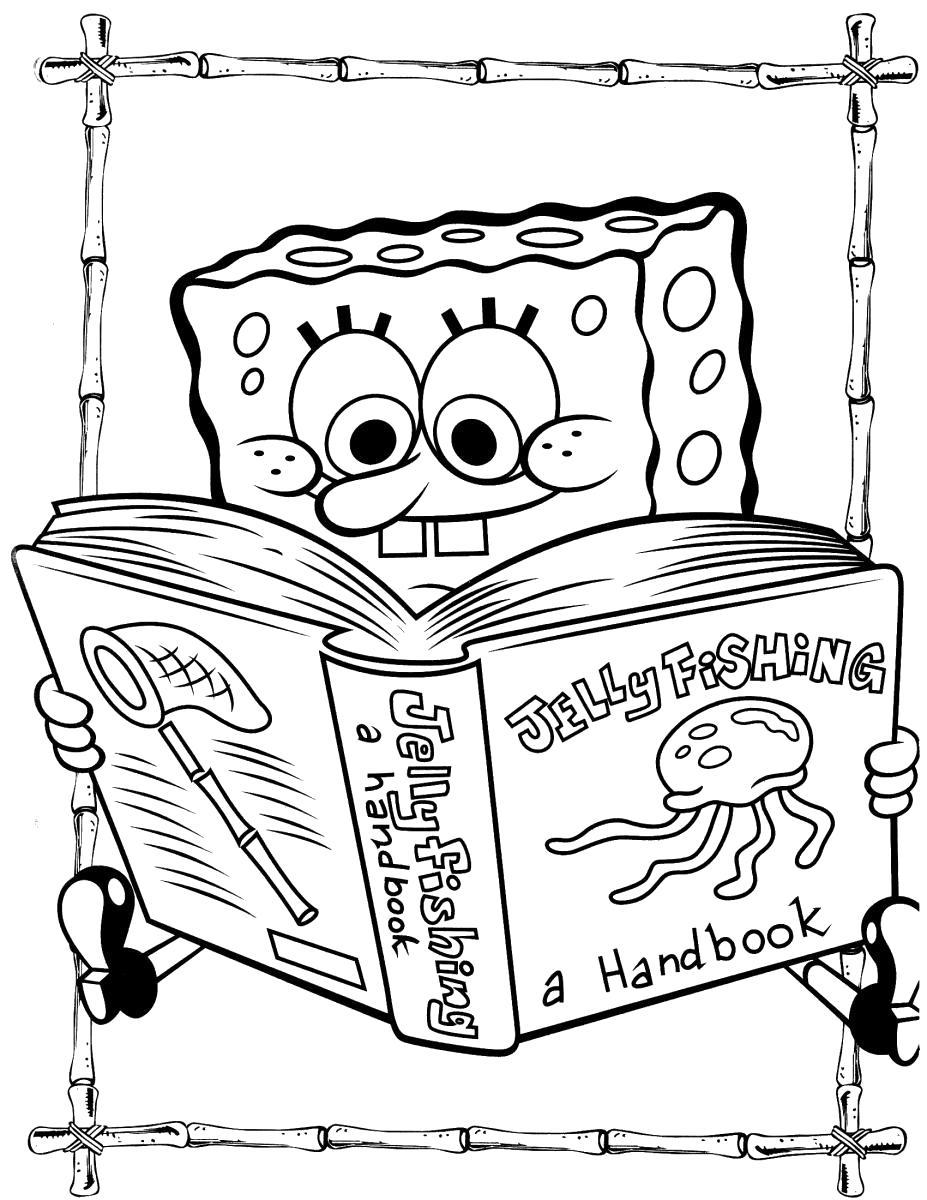 Раскраска Спанч Боб читает книгу. Скачать Губка Боб.  Распечатать Губка Боб