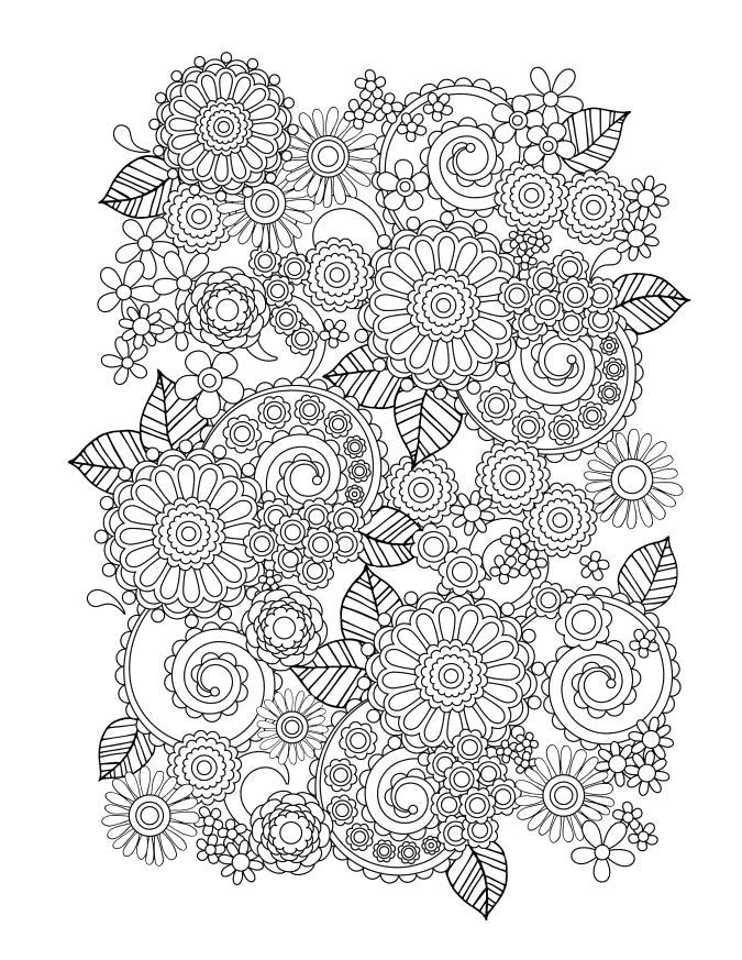 Раскраска  с большим количеством деталей. Скачать узоры, цветы.  Распечатать антистресс