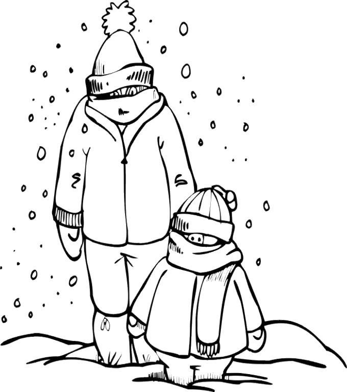Раскраска Теплая одежда. Скачать снег.  Распечатать снег