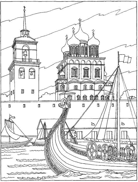 Раскраска Башня, Красная площадь, Храм, Москва река, Лодка. Скачать Москва.  Распечатать Москва