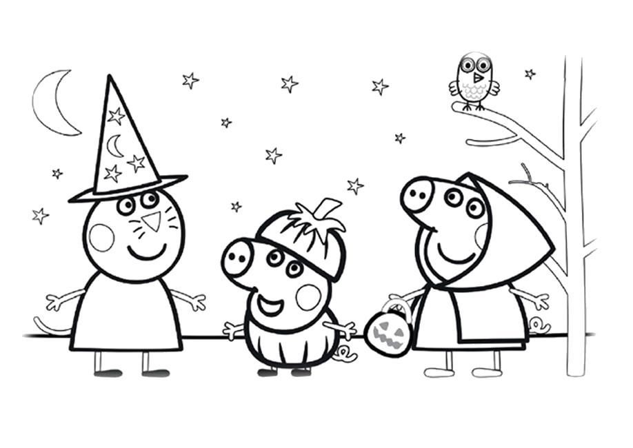 Раскраска Распечатать раскраску Свинка Пеппа хэллоуин. Скачать Свинка Пеппа, Джорж.  Распечатать Свинка Пеппа
