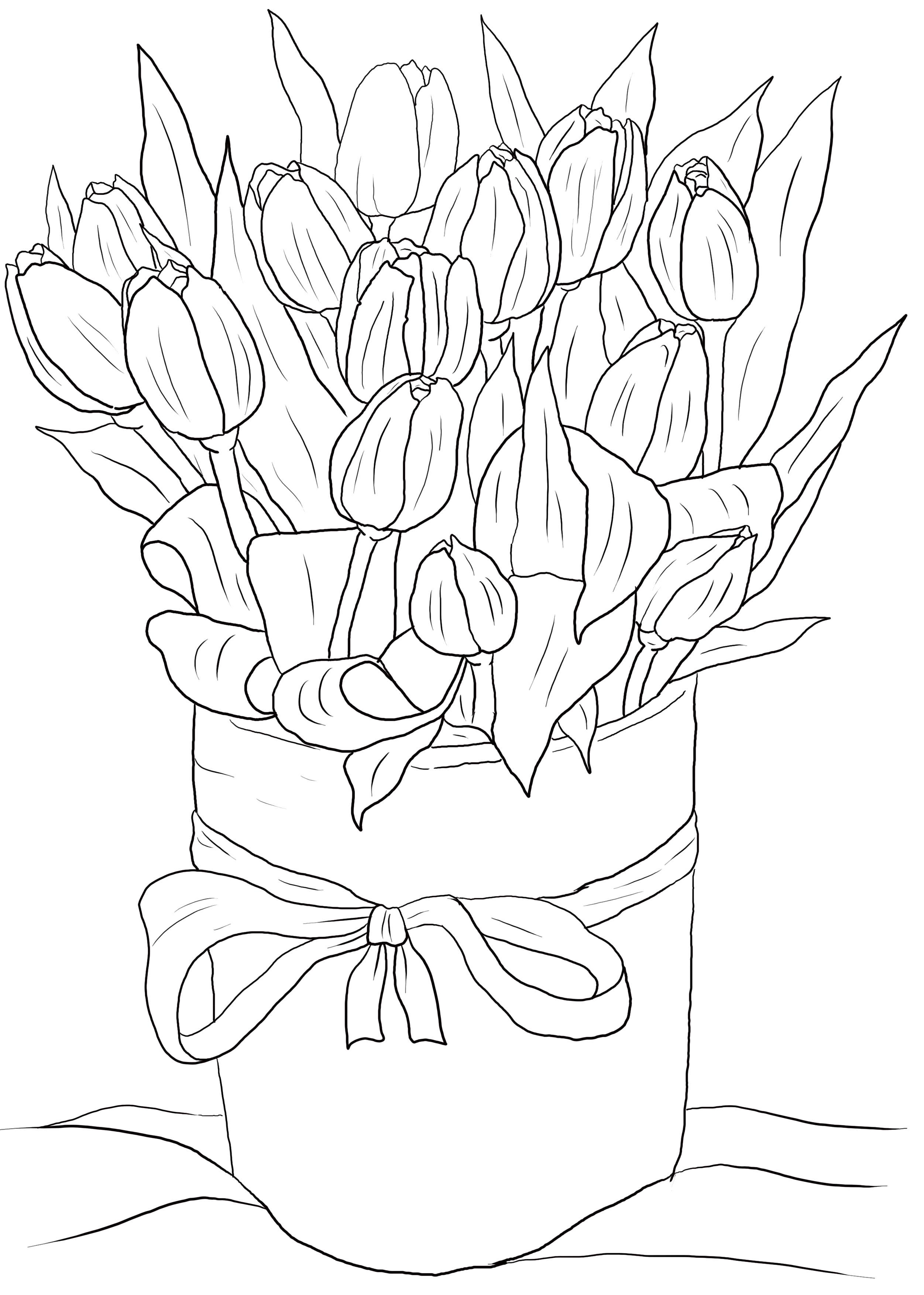 Раскраска букет цветов. Скачать 8 марта.  Распечатать 8 марта