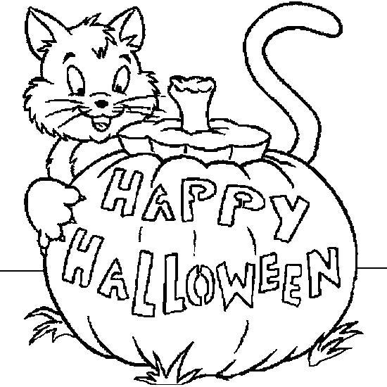 Раскраска Счастливого Хэллоуина. Скачать Хэллоуин.  Распечатать Хэллоуин