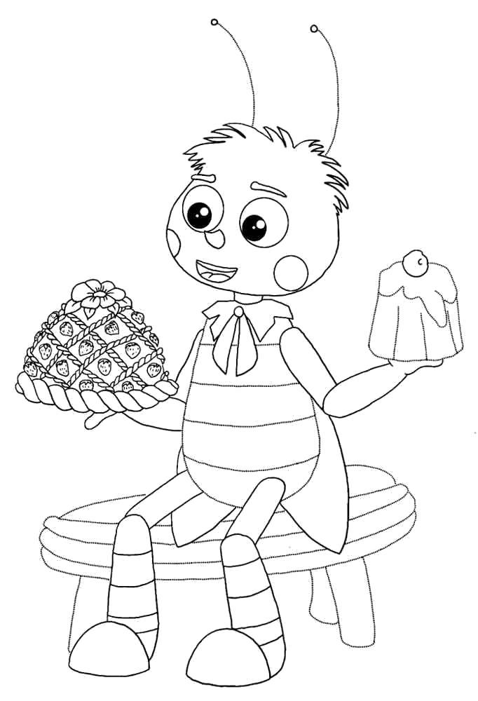 Раскраска Пчелёнок и сладости. Скачать Лунтик.  Распечатать Лунтик